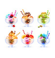 sherbet icecream glass set vector image