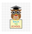 Cute owl teacher on squared background with sign vector image