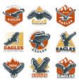 colored vintage beautiful eagles labels set vector image