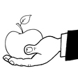 Hand holding apple cartoon vector image vector image