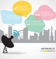 Satellite dish and city background vector image