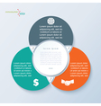 Template for business presentation with 3 segments vector image