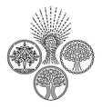 set of templates with trees for Badges stamps vector image vector image