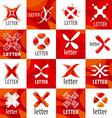 large set of logo letter X vector image