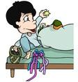 Boy in Bed vector image vector image