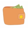Brown wallet with cash icon cartoon style vector image