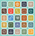 Communication line flat icons on green background vector image