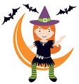 Cute witch sitting on moon vector image
