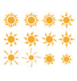 set of sun icons in many style vector image