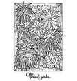 Vertical garden in a line art style vector image