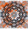 Black ornate mandala with orange splashes vector image vector image