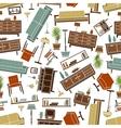 Retro furnishing seamless background pattern vector image