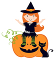 Cute witch sitting on pumpkin vector image vector image