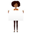 african american girl holding sign banner isolated vector image