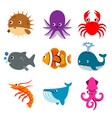 animal ocean aquatic sea life funny cartoon vector image