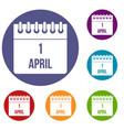 calendar april 1 icons set vector image