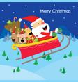 merry christmas text santa gift dogs fun enjoy car vector image