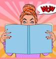 pop art amazed woman reading book vector image