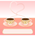 background with a cup of coffee and heart vector image vector image