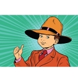 thumb up boy in a big hat vector image