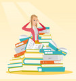 Student sitting in huge pile of books vector image
