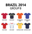 World Cup Brazil 2014 - group B football jerseys vector image