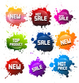 Colorful Splashes Set Blots with New Title Hot vector image vector image