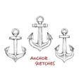 Vintage heraldic nautical anchors sketches vector image