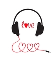 Headphones and red cord in shape of three hearts vector image