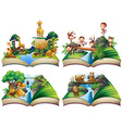 Book with wild animals in the jungle vector image