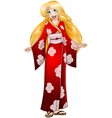 Blond Woman In Red Kimono vector image