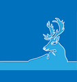 continuous line drawing of christmas reindeer vector image