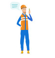 young caucasian builder with speech bubble vector image