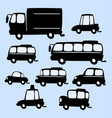 cartoon truck bus car silhouette template vector image vector image