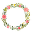 Watercolor wreath with roses and leaves vector image