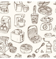 Home appliances themed doodle Seamless Pattern vector image