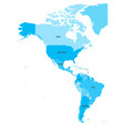 political map of americas in four shades of blue vector image