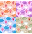 Seamless patterns with balloons and clouds vector image
