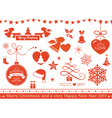 Flat Christmas icons symbols vector image