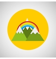 snowy mountains rainbow weather concept design vector image