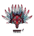 Doodle Wolf Mask Colored vector image vector image