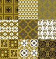 9 retro floral geometry seamless patterns vector image