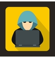 Computer hacker with laptop icon flat style vector image
