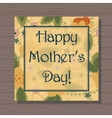 Happy mothers day card on wooden background vector image vector image