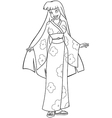 Asian Woman In Kimono Coloring Page vector image