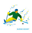 disabled sledge hockey player with sticks on ice vector image