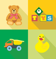 Kids toys icons set in outlines Digital image vector image