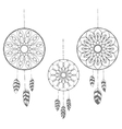 Set of three hand drawn dreamcatchers vector image