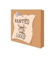 Vintage western wanted poster cartoon icon vector image