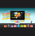 Web design concept computer with infographic vector image